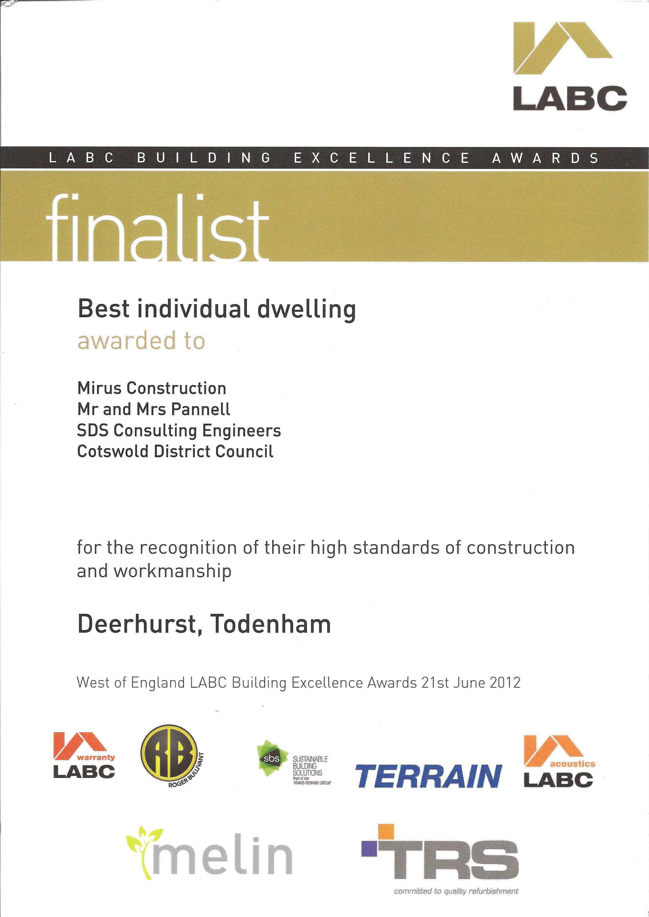 Deerhurst - LABC Finalist Certificate